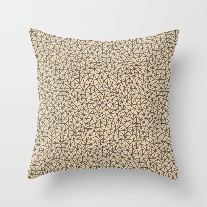 Brown and Tan Abstract Shape Pattern Throw Pillows Match and coordinate with Sherwin Williams Paints 2021 Color of the Year Urbane Bronze and Ivoire