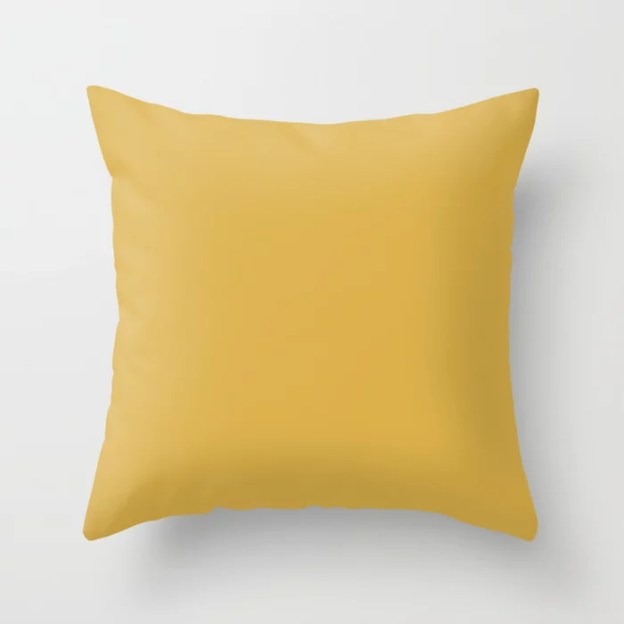 Sherwin Williams Trending Colors of 2019  From Shapeshifter Palette: Nugget Golden Yellow SW 6697 Throw Pillows and Outdoor Patio Pillows