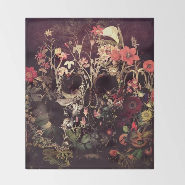 Bloom Skull Throw Blanket by Ali GULEC