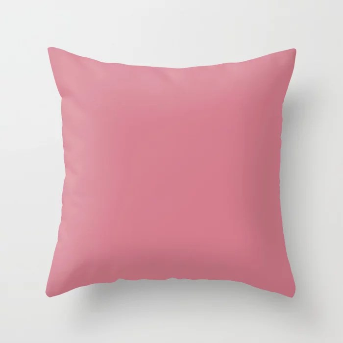 Enticing Dark Rose Pink Solid Color Pair To Sherwin Williams Tuberose SW 6578 Throw Pillow
