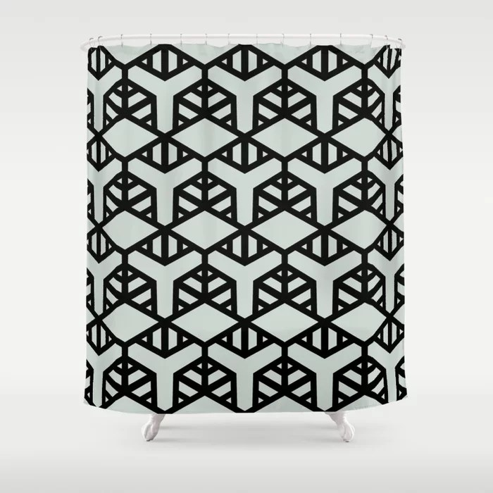 Pastel Green and Black Shape Tile Pattern 2 Behr 2022 Color of the Year Breezeway MQ3-21 Shower Curtain. 2022 color trend