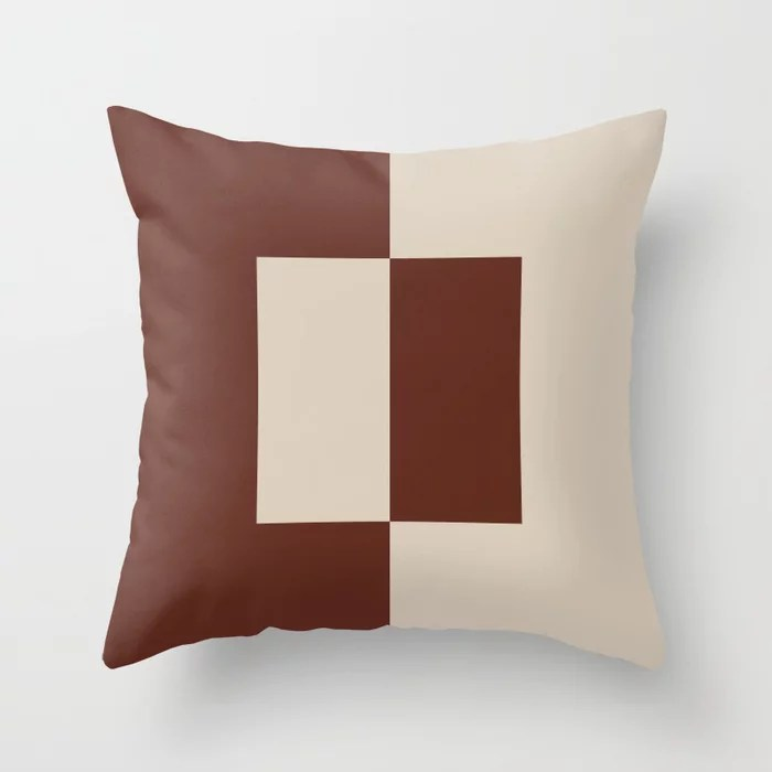 Light Beige Reddish Brown Minimal Square Design: Hues were inspired by and match (pair / coordinate with) 2021 Color of the Year Uptown Ecru and Terra Rosa Throw Pillow
