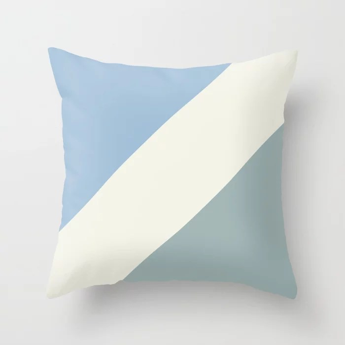 Pastel Blue Off White Aqua Diagonal Stripe Pattern Throw Pillows inspired by and pairs to (matches / coordinates with) Dutch Boy 2021 Color of the Year Earth's Harmony & Accents