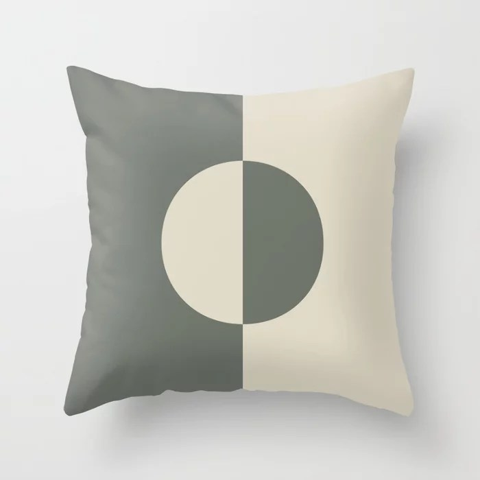 Moody Green Buff Tan Minimal Circle Design 2021 Color of the Year Contemplative Bleached Pebble Throw Pillow