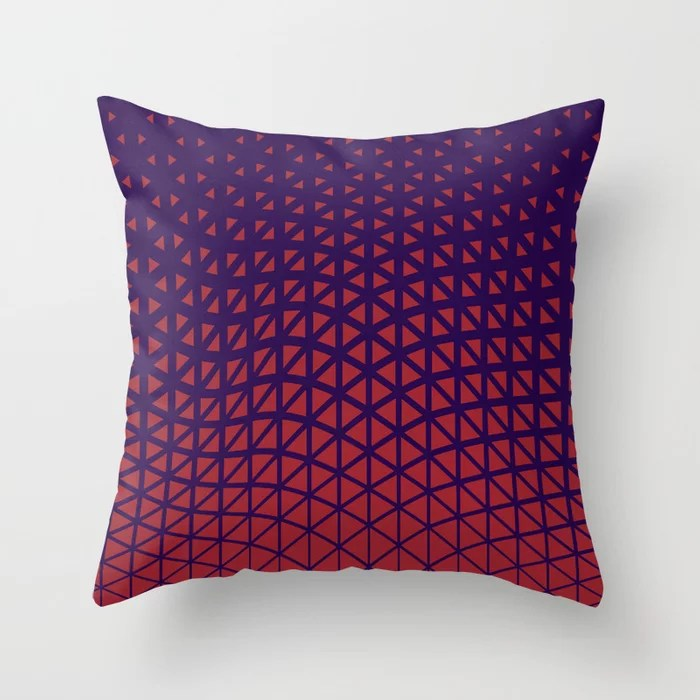 Red and Purple Geometric Wave Pattern 2021 Color of the Year Satin Paprika and Purple Throw Pillow