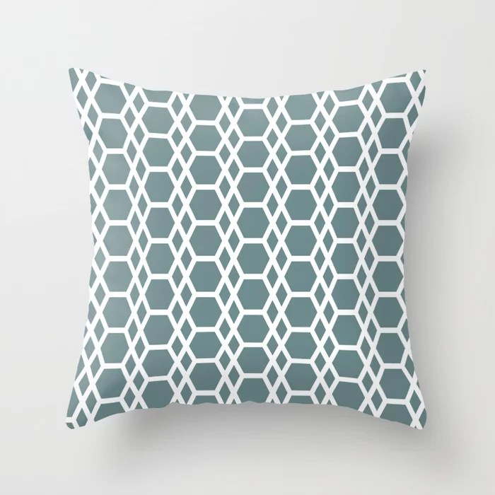 Muted Aqua and White Abstract Hexagons Diamonds 2021 Color of the Year Aegean Teal Throw Pillow
