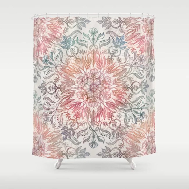Autumn Spice Mandala in Coral, Cream and Rose shower curtain by ...