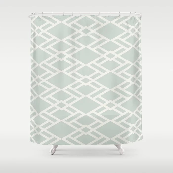 Pastel Green and Cream Diamond Tile Pattern Pairs Behr 2022 Color of the Year Breezeway MQ3-21 Shower Curtain. 2022 color trend