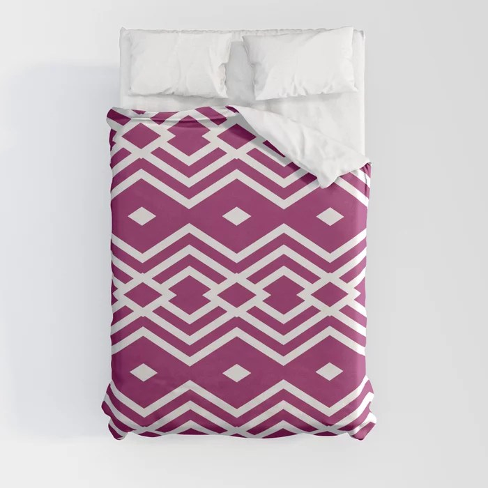 Magenta and White Stripe Diamond Pattern - Colour of the Year 2022 Orchid Flower 150-38-31 Duvet Cover - color for 2022