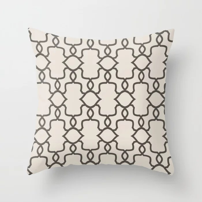 Brown and Cream Ornamental Shape Pattern 4 Throw Pillows match and coordinate with Sherwin Williams Paints 2021 Color of the Year Urbane Bronze and Shoji White