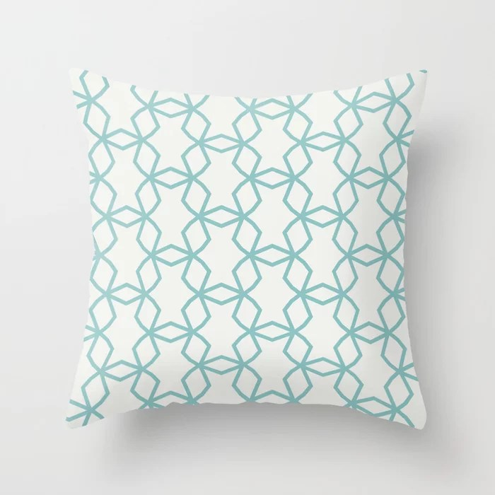 Aquamarine Geometric Mosaic Pattern 2021 Color of the Year Aqua Fiesta and Delicate White Throw Pillow