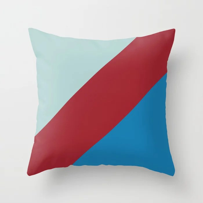 Red and Blue Diagonal Stripe Design 2021 Color of the Year Satin Paprika and Accent Shades Throw Pillow