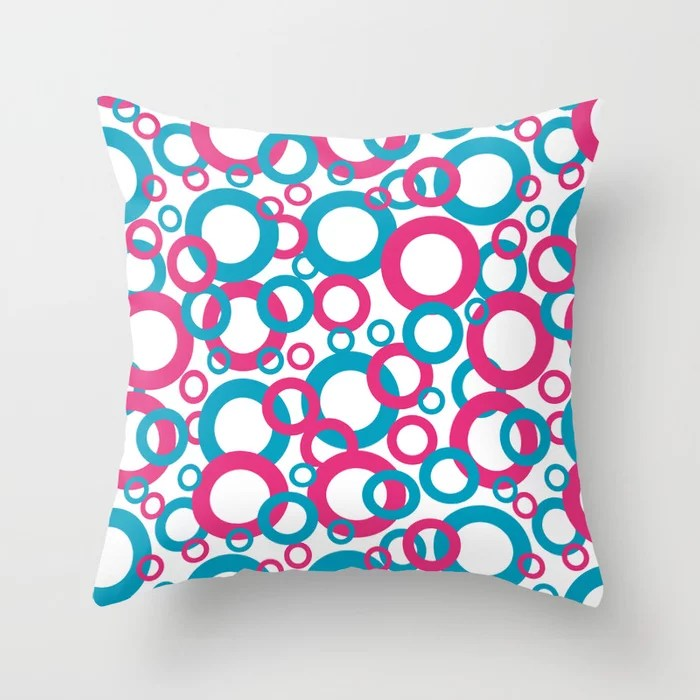 Blue Green, Pink, White Geometric Ring Pattern 2021 Color of the Year AI Aqua 098-59-30 Throw Pillow