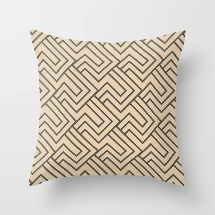 Brown And Buff Beige Minimal Line Art Pattern 2 Throw Pillows Match Sherwin Williams Paints 2021 Color of the Year Urbane Bronze and Ivoire
