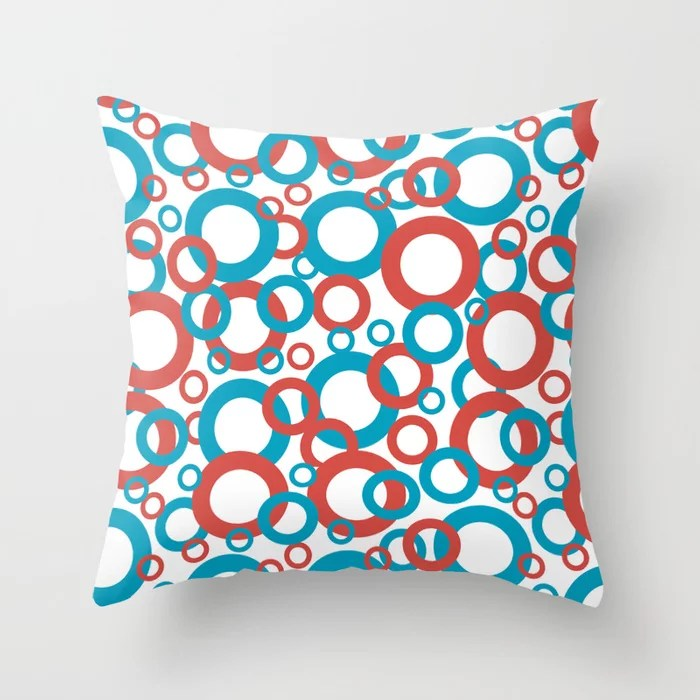 Blue Green, Red, White Geometric Ring Pattern 2021 Color of the Year AI Aqua 098-59-30 Throw Pillow