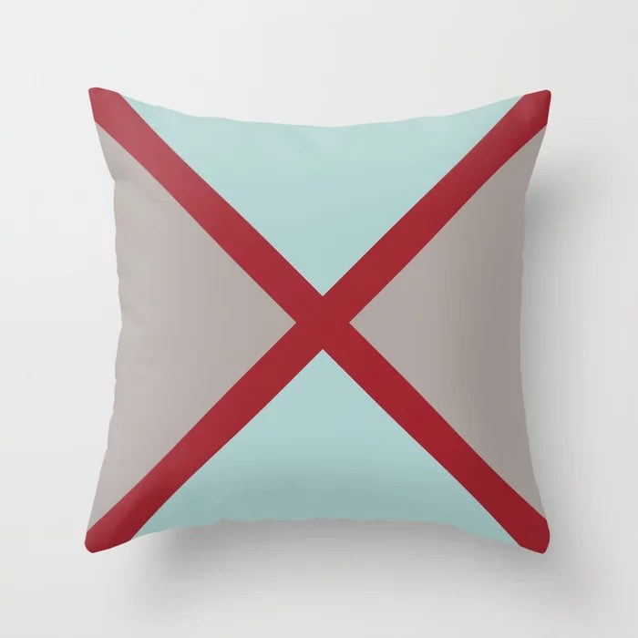 Red Pastel Blue Gray Diagonal Stripe Design 2021 Color of the Year Satin Paprika and Accent Shades Throw Pillow