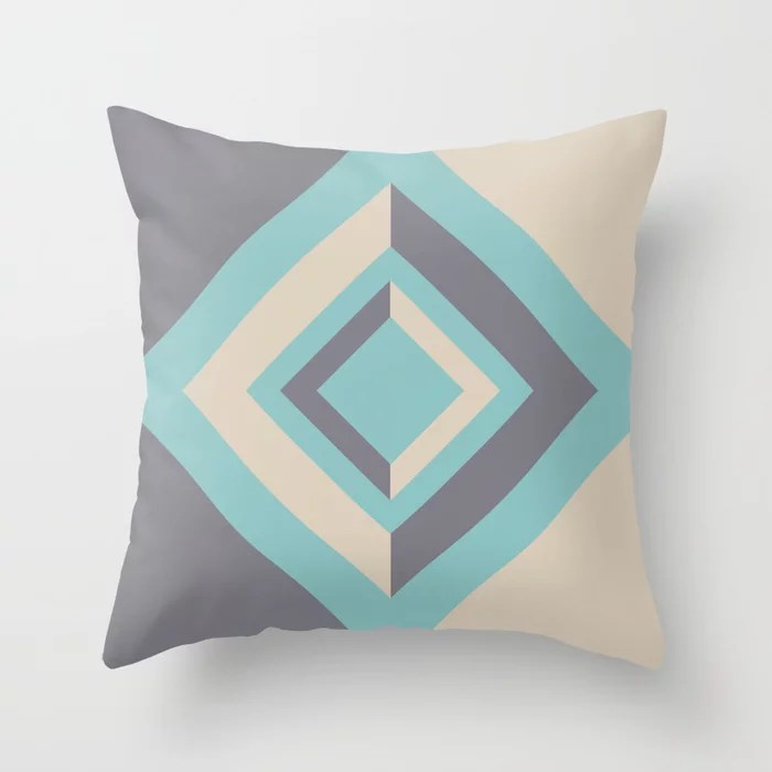 Geometric Diamond Design 2021 Color of the Year Aqua Fiesta and Accent Shades Throw Pillow
