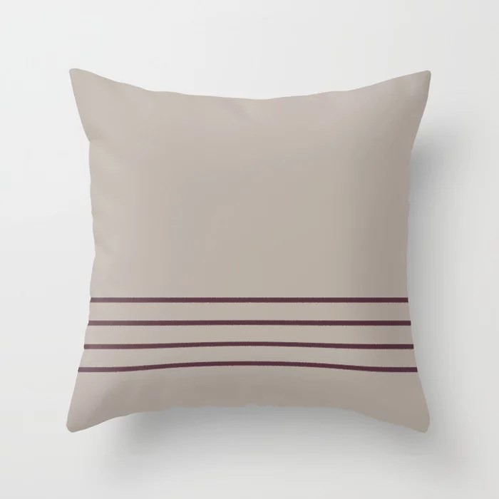 Deep Purple Taupe Gray Thin 4 Stripe Pattern 2021 Color of the Year Epoch and Fondue Throw Pillow
