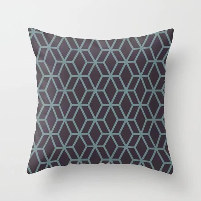 Aqua & Purple Geometric Tessellation Pattern 16 2021 Color of the Year Aegean Teal & Tulsa Twilight Throw Pillow