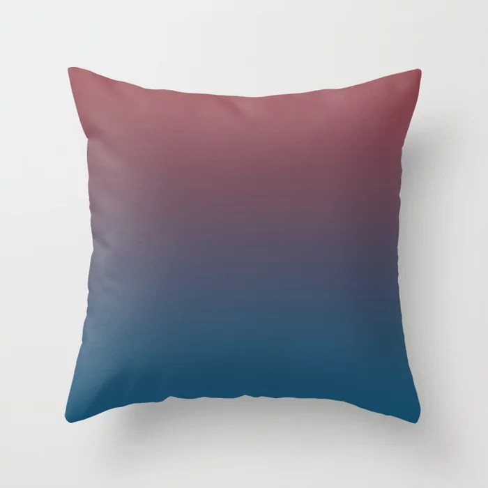 Red and Blue Gradient Ombre Fading Blend 2021 Color of the Year Passionate and Long Horizon Throw Pillow