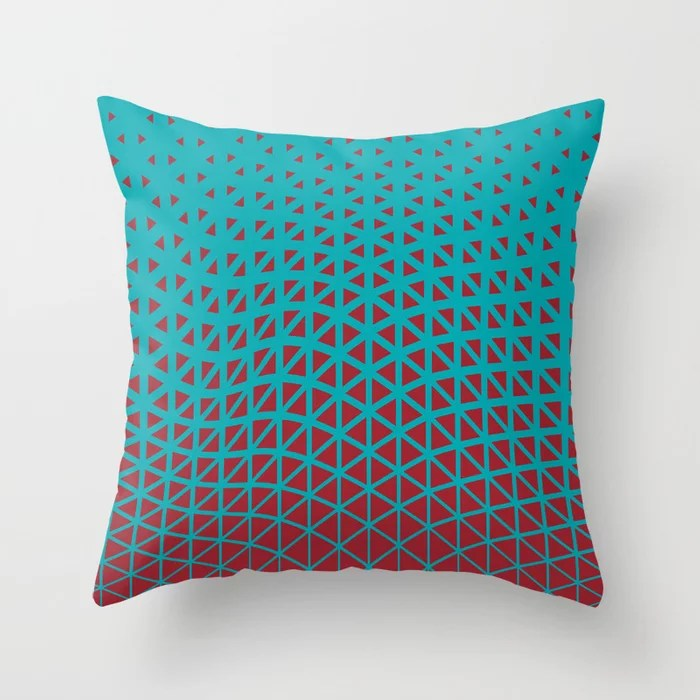 Red and Aqua Geometric Wave Pattern 2021 Color of the Year Satin Paprika and Vintage Teal Throw Pillow