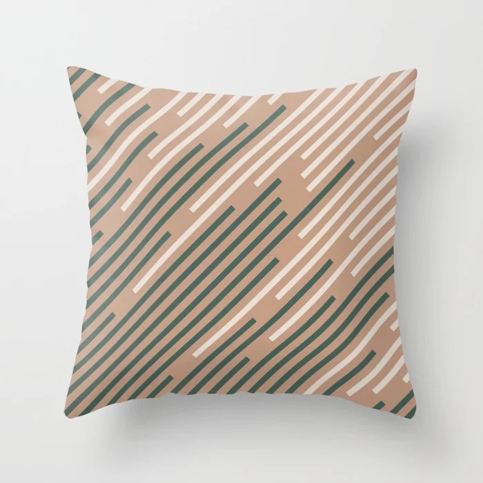 Sand Storm Beige Dark Green Creamy Off White Lines 2021 Color of The Year Canyon Dusk Accent Shades Throw Pillow