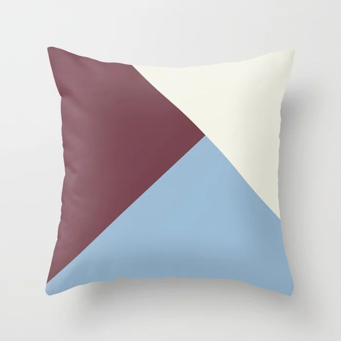 Pastel Blue Off White Burgundy Solid Color Shapes Throw Pillows inspired by and pairs to (matches / coordinates with) Dutch Boy 2021 Color of the Year Earth's Harmony & Accent Hues