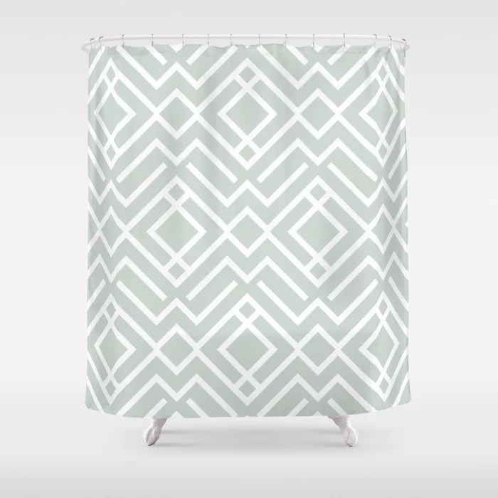 Pastel Green and White Diamond Shape Pattern Pairs Behr 2022 Color of the Year Breezeway MQ3-21 Shower Curtain. 2022 color trend