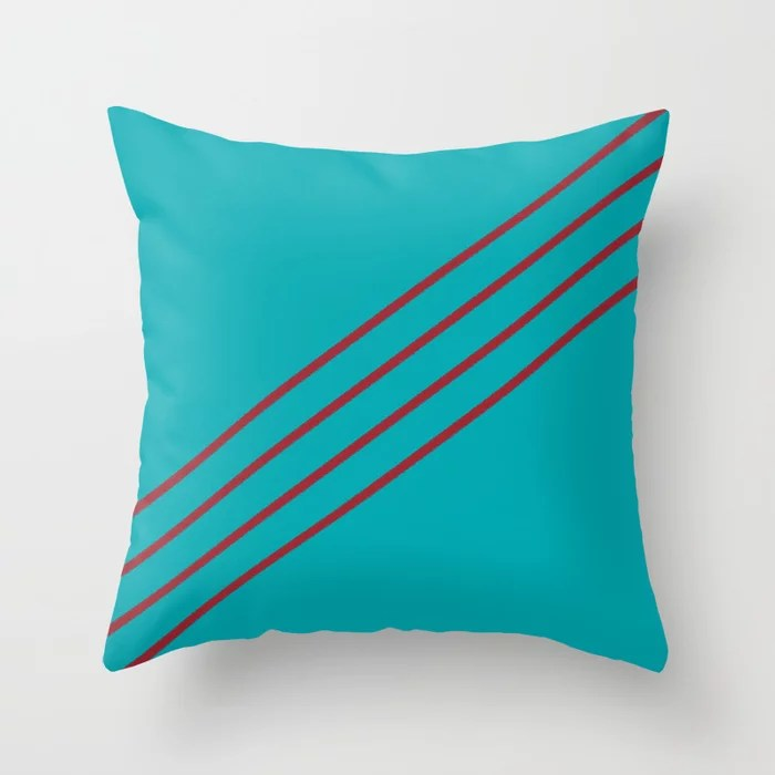 Aqua and Red Angled 4 Stripe Pattern 2021 Color of the Year Satin Paprika and Vintage Teal Throw Pillow