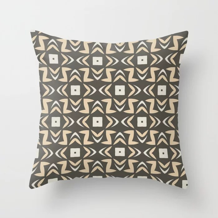 Earth Colors Abstract Shape Pattern V2 Throw Pillow Matches Sherwin Williams Paints 2021 Color of the Year Urbane Bronze and Accent Shades