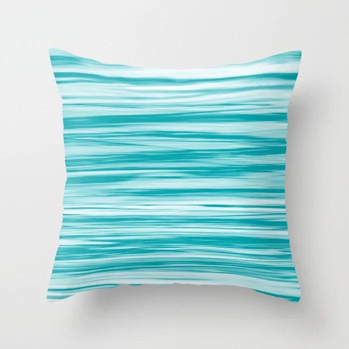Aqua Soft Focus Motion Watercolor Blend Stripes Rustoleum Vintage Teal (aqua) Throw Pillow