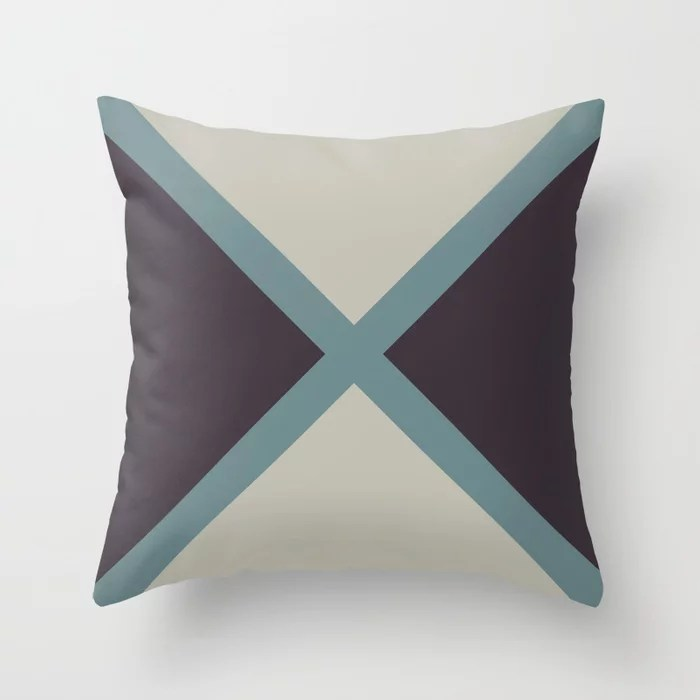 Blue-Green Tan Purple Diagonal Stripes X Pattern 2021 Color of the Year Aegean Teal and Accent Shade Throw Pillow