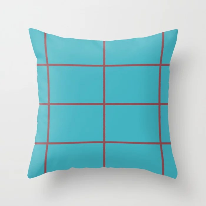 Red and Aqua Blue Abstract Check Line Pattern Pairs HGTV 2021 Color of the Year Passionate Throw Pillow
