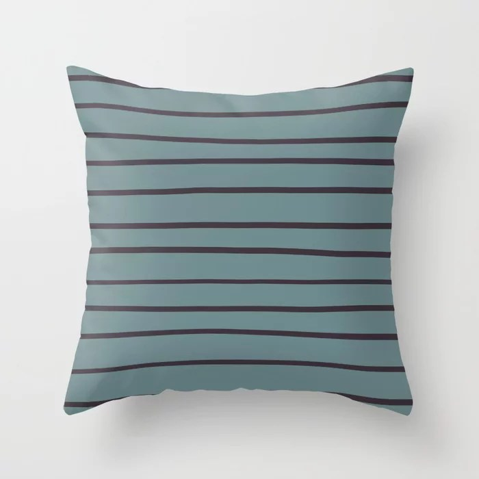 Blue-Green Purple Minimal Line Pattern V2 2021 Color of the Year Aegean Teal and Tulsa Twilight Throw Pillow