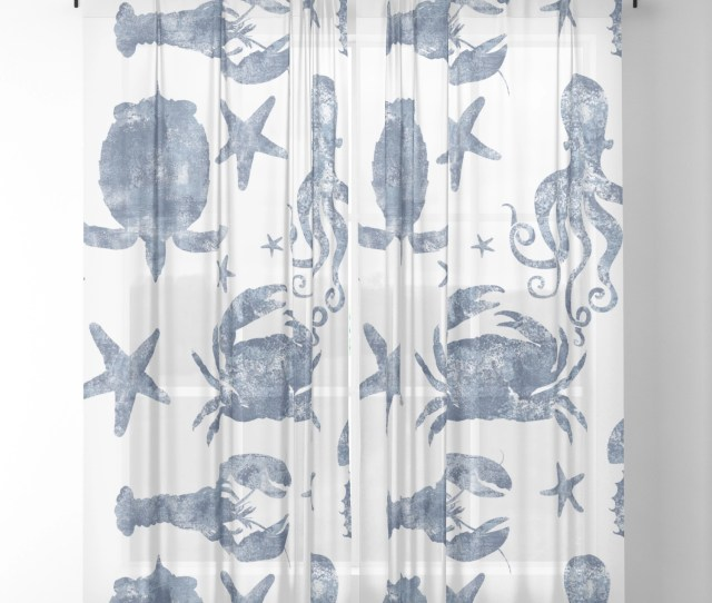Delft Blue Nautical Marine Life Pattern Coastal Beach Sheer