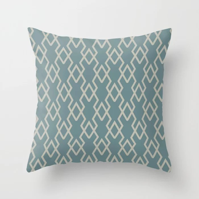 Soft Aqua Blue Tan Tessellation Line Pattern 19 2021 Color of the Year Aegean Teal and Winterwood Throw Pillow