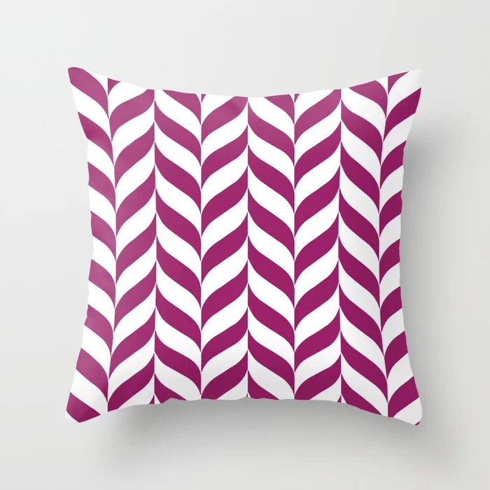 Magenta and White Pretty Herringbone Pattern - Colour of the Year 2022 Orchid Flower 150-38-31 Throw Pillow
