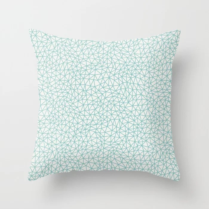 Pastel Teal and White Triangle Shape Pattern 2021 Color of the Year Aqua Fiesta & Delicate White Throw Pillow