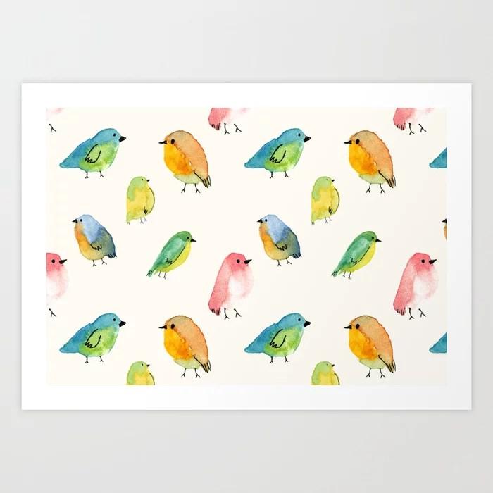 Sunday's Society6 | Watercolor birds pattern art print