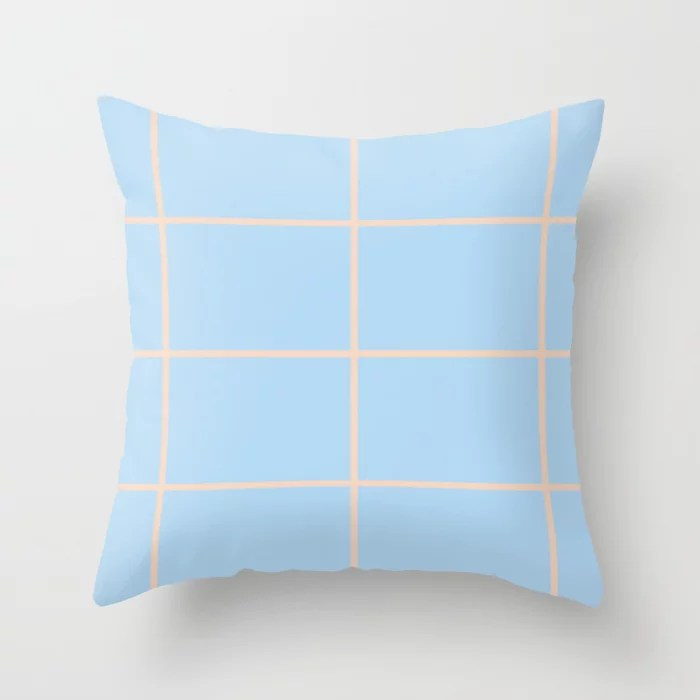 Baby Blue and Peach Criss Cross Stripe Pattern 2021 Color of the Year Wild Blue Yonder Natural Tan Throw Pillow