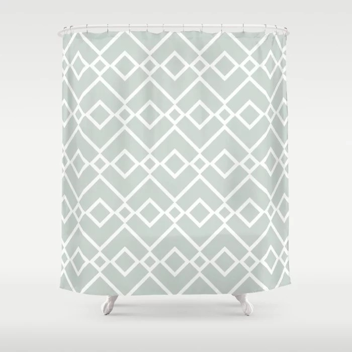 Mint Green and White Tessellation Pattern 23 Behr 2022 Color of the Year Breezeway MQ3-21 Shower Curtain. 2022 color trend