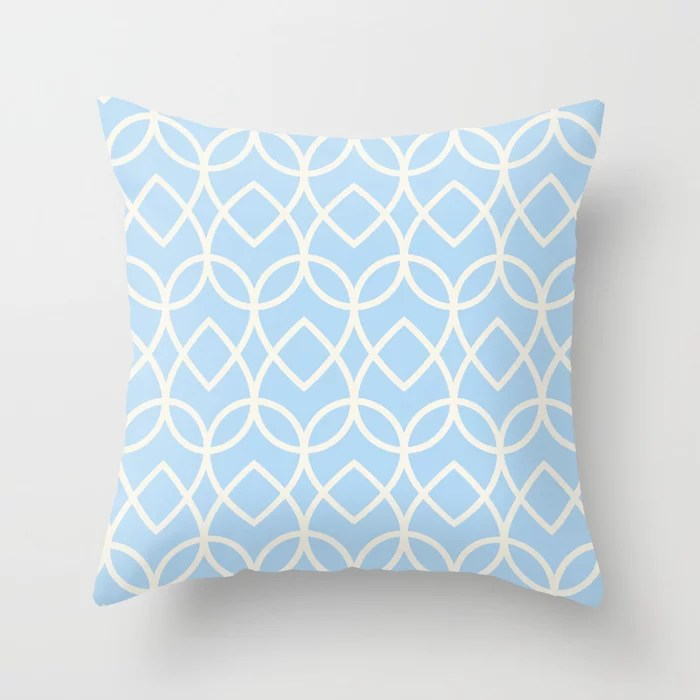 Baby Blue Off-White Line Art Teardrop Pattern 2021 Color of the Year Wild Blue Yonder Swiss Coffee Throw Pillow