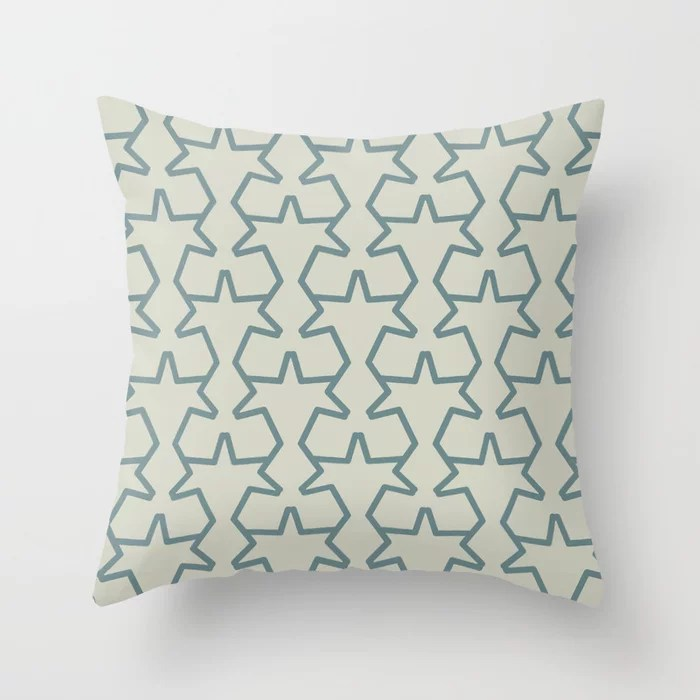 Aqua and Beige Geometric Tessellation Pattern 15 2021 Color of the Year Aegean Teal and Sweet Spring Throw Pillow