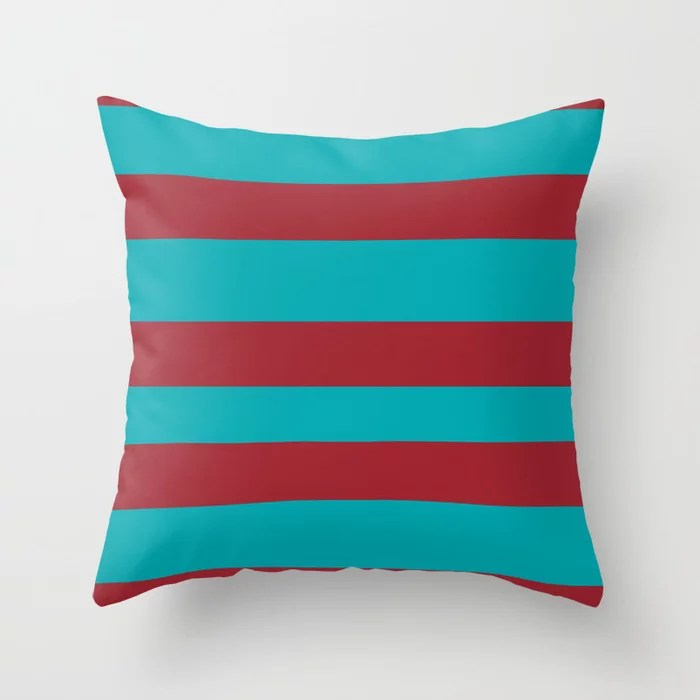 Red and Aqua Wide Stripe Pattern 2021 Color of the Year Satin Paprika and Vintage Teal Throw Pillow
