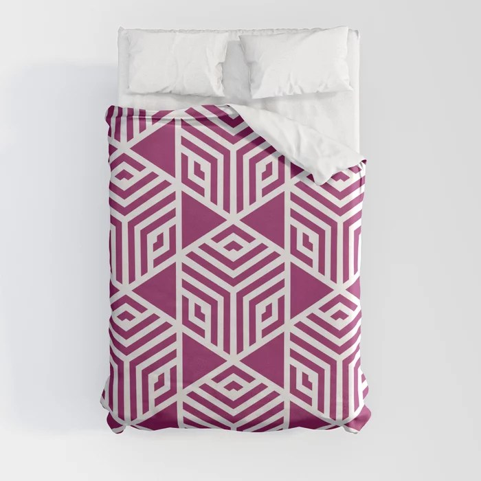 Magenta and White Stripe Cube Tile Pattern - Colour of the Year 2022 Orchid Flower 150-38-31 Duvet Cover - color for 2022