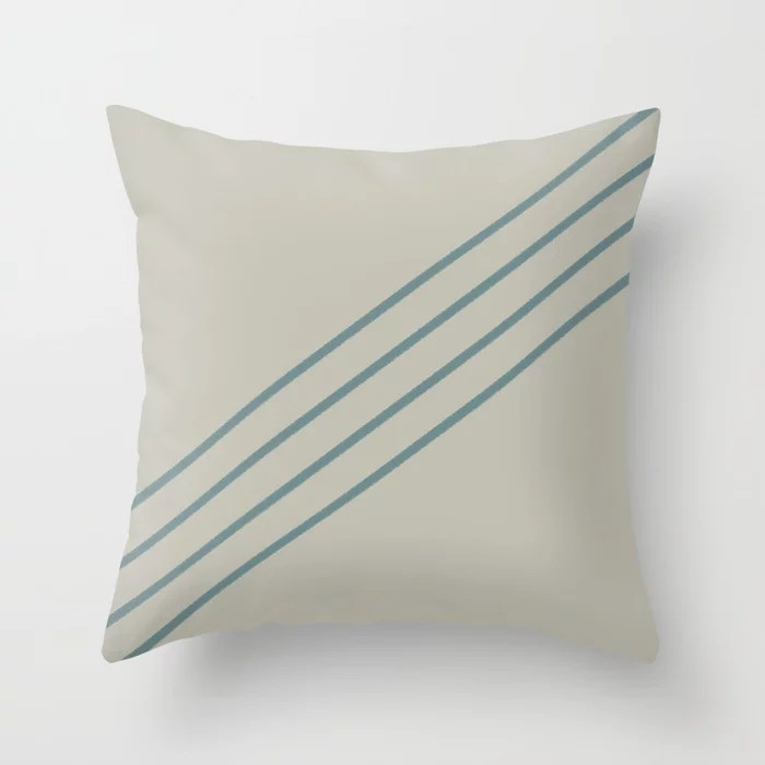 Muted Aqua and Tan Line Pattern 2021 Color of the Year Aegean Teal and Winterwood Throw Pillow
