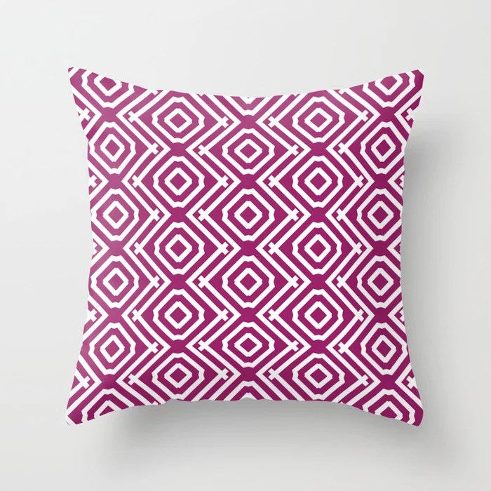 Magenta and White Vertical Stripe Diamond Pattern - Colour of the Year 2022 Orchid Flower 150-38-31 Throw Pillow