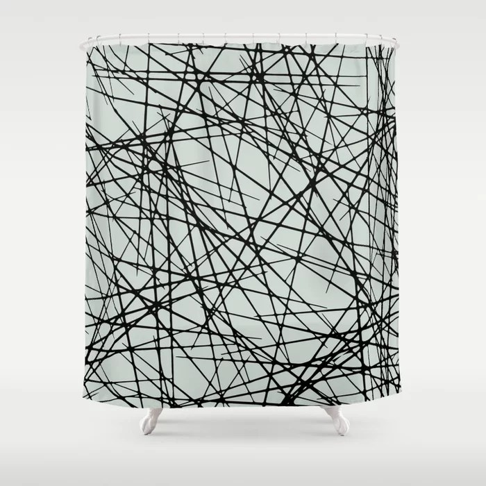 Pastel Green and Black Criss Cross Line Pattern Pairs Behr 2022 Color of the Year Breezeway MQ3-21 Shower Curtain. 2022 color trend