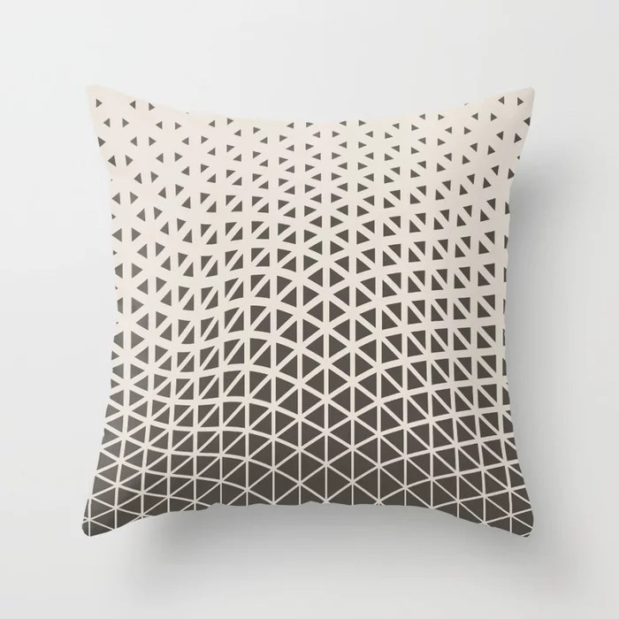 Brown and Cream Geometric Wave Pattern Throw Pillows Match and coordinate with Sherwin Williams Paints 2021 Color of the Year Urbane Bronze and Shoji White