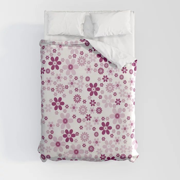 Magenta and White Simple Floral Flower Pattern - Colour of the Year 2022 Orchid Flower 150-38-31 Duvet Cover - color for 2022